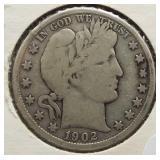1902-O Barber Silver Half Dollar.