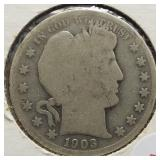 1903-S Barber Silver Half Dollar.