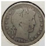 1904 Barber Silver Half Dollar.