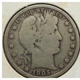 1905-S Barber Silver Half Dollar.