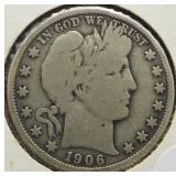 1906 Barber Silver Half Dollar.