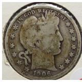 1906-D Barber Silver Half Dollar.