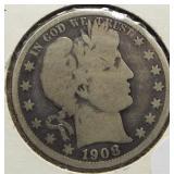 1908-O Barber Silver Half Dollar.