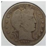 1911 Barber Silver Half Dollar.
