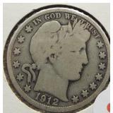 1912 Barber Silver Half Dollar.