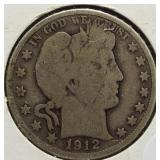 1912-D Barber Silver Half Dollar.