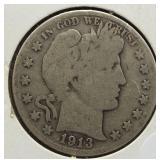 1913-S Barber Silver Half Dollar.