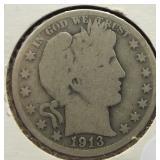 1913-D Barber Silver Half Dollar.
