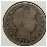 1914-S Barber Silver Half Dollar.