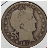 1915-D Barber Silver Half Dollar.