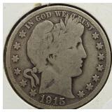 1915-S Barber Silver Half Dollar.