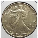 1943 UNC Walking Liberty Silver Half Dollar.
