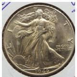 1946 UNC Walking Liberty Silver Half Dollar.