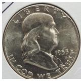 1953-D Franklin Silver Half Dollar.