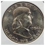 1954-D BU Franklin Silver Half Dollar.