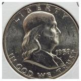 1958-D BU Franklin Silver Half Dollar.