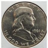 1961 Franklin Silver Half Dollar.