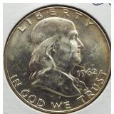 1962-D Franklin Silver Half Dollar.
