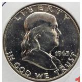 1963-D BU UNC Franklin Silver Half Dollar.