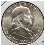 1956 UNC Franklin Silver Half Dollar.