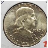 1957 UNC Franklin Silver Half Dollar.