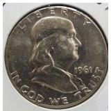 1961 UNC Franklin Silver Half Dollar.
