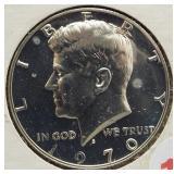 1970-S Proof Kennedy 40% Silver Half Dollar.