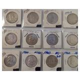 (12) Franklin Silver Half Dollars. Dates: