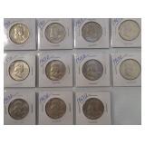(11) Franklin Silver Half Dollars. Dates: 3-1963,