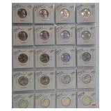 (20) 1953-D UNC Washington Silver Quarters.