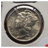 1938 Mercury Silver Dime. GEM BU.