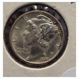 1938-D Mercury Silver Dime. Split Bands.