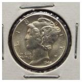 1944-D Mercury Silver Dime. GEM BU.
