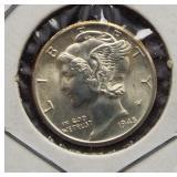 1945-D Mercury Silver Dime. GEM BU FSB.
