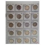 (20) Canadian Silver Half Dollars. Dates: 5-1953,