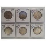 (9) Canadian Silver Half Dollars. Dates: 1943,