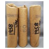 (3) Rolls of UNC 1958 Bank Sealed Lincoln Wheat