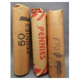 (3) Rolls of Lincoln wheat cents: 1946-S, 1950,
