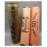 (3) Rolls of Lincoln wheat cents: 1947-S, 1950-S,