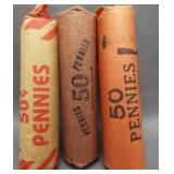 (3) Rolls of Lincoln wheat cents: 1940, 1953-D,