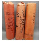 (3) Rolls of Lincoln wheat cents: 1952-D, 1953-S,