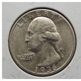 1936-D AU silver quarter.