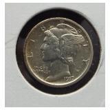 1917-S AU Mercury dime.