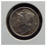 1918-D AU Mercury dime.