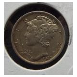 1920-S AU Mercury dime.