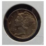 1923-S AU Mercury dime.