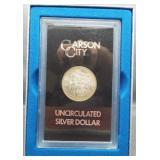 1883-CC GSA UNC Morgan silver dollar with box and