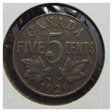 1926 Canadian nickel. Near 6, key date.