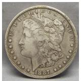 1887-O Morgan silver dollar.