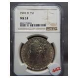 1901-O Morgan silver dollar. NGC MS63.